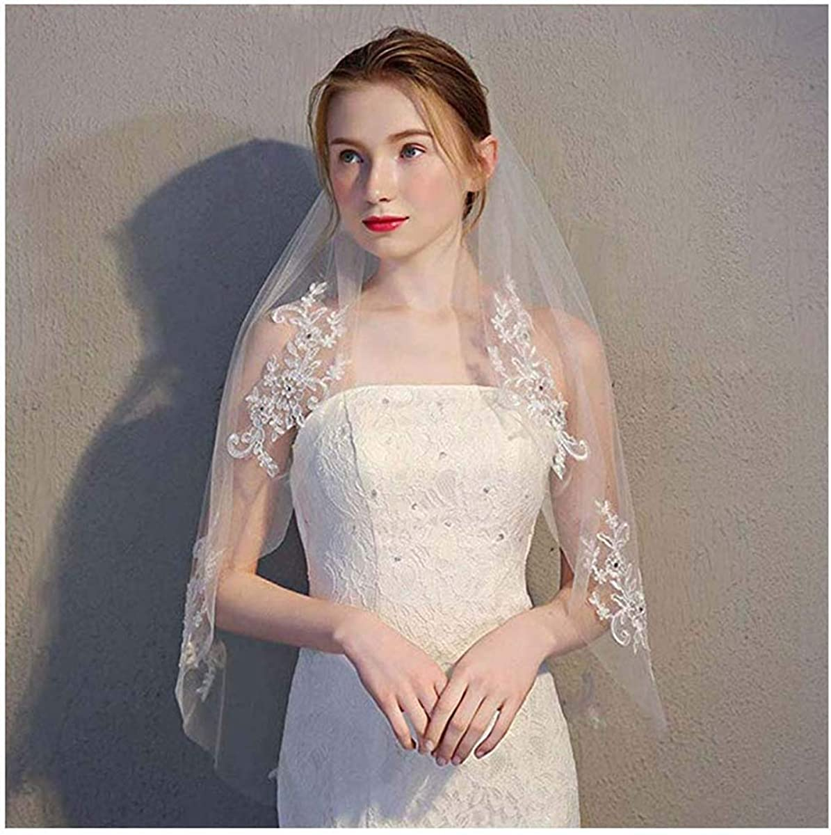 CanB Women's Lace Wedding Chapel Veil With Comb 1 Tier Bridal Elbow length Veils and Headpieces for Brides 35.4inches