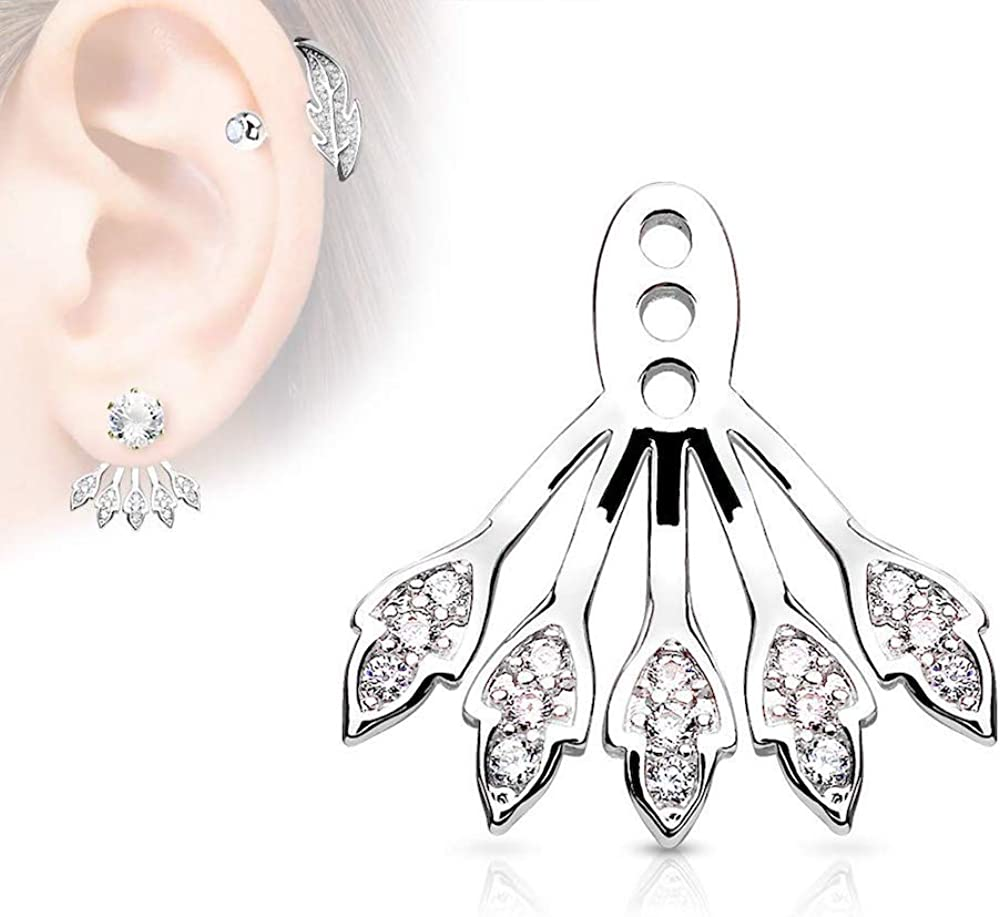 Covet Jewelry Five Micro CZ Paved Leaves Earring Jacket/Cartilage Stud Add on Dangle