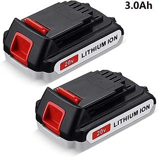 FirstPower LBXR20 3000mAh Reemplazo para Black+Decker 20V Max batería de litio LB20 LBX20 LST220 LBXR2020-OPE LBXR20B-2 LB2X4020 herramienta inalámbrica batería de tiempo de funcionamiento extendido 2 paquetes
