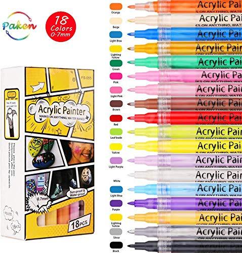Srliya Bolígrafos de pintura acrílica, utilizados para pintar rocas, guijarros, vidrio, madera, diseño de tazas, juego de rotuladores impermeables (0,7 mm) (18 colores)