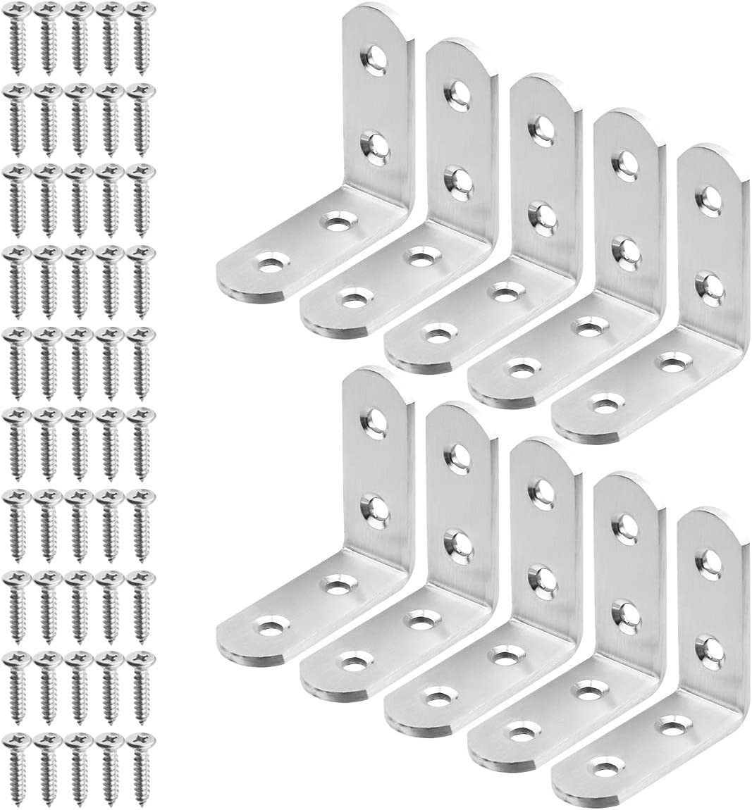 TOPPROS Pack Price reduction of10 Stainless Steel Popular products L Corner Brackets Duty Heavy C