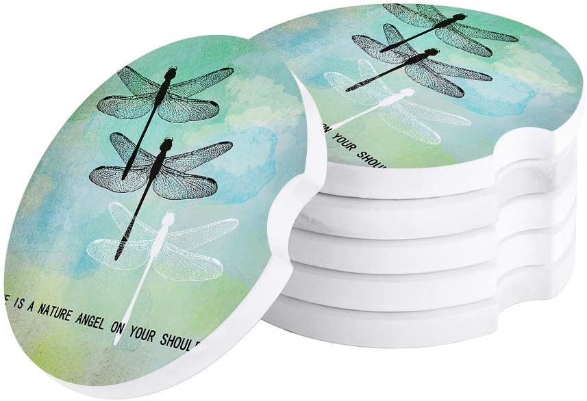 Car Coasters for Drinks Set of 2 Pack,Dragonflies Green Watercolor Background Durable Absorbent Ceramics Car Accessories Easy Removal of Auto Cup Holders for Women Men