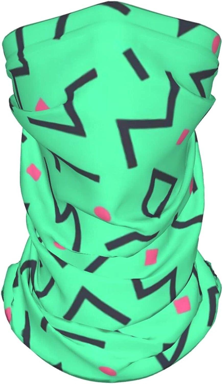 Retro Memphis Style2 Neck Gaiter Multipurpose Headwear Ice Silk Mask Scarf Summer Cool Breathable Outdoor Sport 2 Pcs