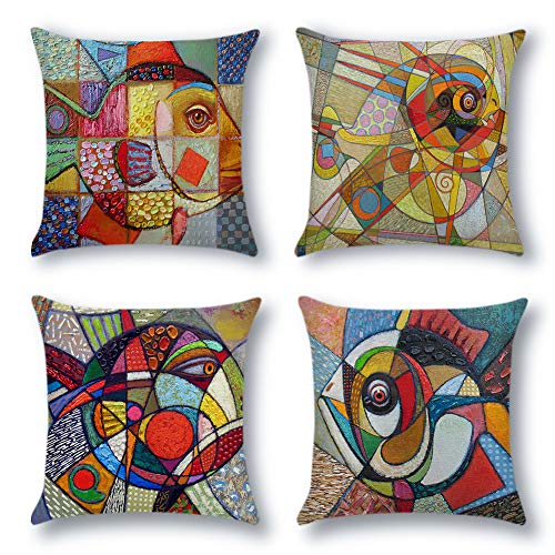 Artscope Lot de 4 Housse de Coussin 45 x 45 cm Polyester et Lin Décoratif Taie d'oreiller de Voiture Canapé Maison Décor Housses de Coussin (Poisson Peint Coloré)