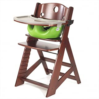 Keekaroo Height Right Highchair with Insert & Tray - Lime - Mahogany Base
