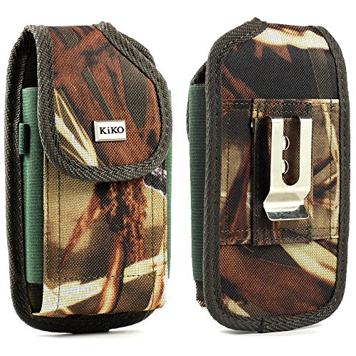 XXL SIZE LG G4, LG G Vista D631 VS880, LG G Flex 2 LS996 Camouflage Rugged Heavy Duty Holster Pouch with Metal Belt Clip Case Cover (Fits with OTTER BOX Defender / LIFEPROOF / Extended Battery or Thi