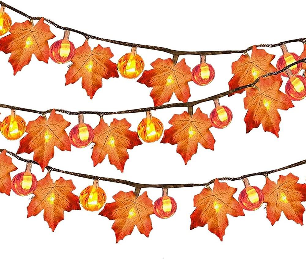 iSinofc Fall Lights Decor- Maple Fees free String L Leaves Brand Cheap Sale Venue Pumpkin