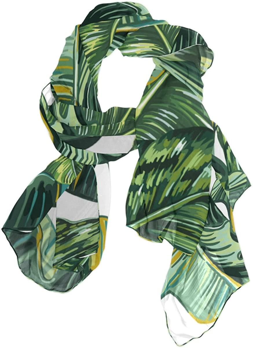 ALAZA Palm Tree Leaves Jungle Leaf Sheer Scarves Shawl Wrap Women Infinity Oblong Chiffon Scarf for Outdoor