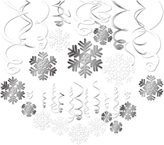 CC HOME Merry Christmas Party Snowflake Hanging Swirl Decorations,Winter Wonderland Party Ceiling Streamers Decorations for Christmas Xmas Happy New Year Eve,Frozen Birthday Party Decorations30pcs