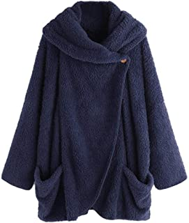 f7a3f0abcfe Women Warm Winter Hoodie Coat Cotton Hooded Pullover Plus Size Button Tops  Loose Sweater Outwear Tunic