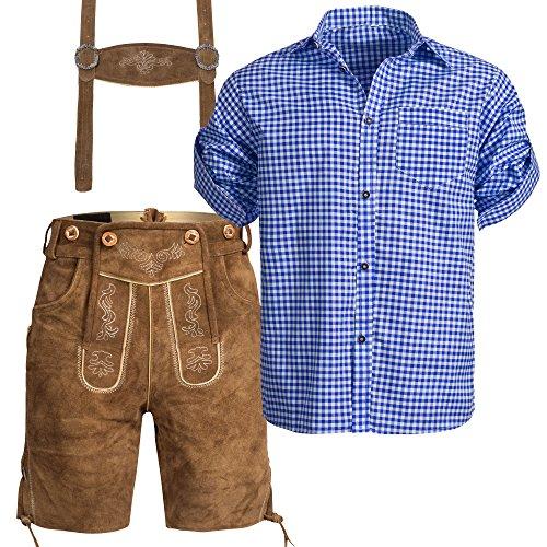Herren Set Trachten Lederhose hellbaun kurz mit Trägern + Trachtenhemd blau weiß kariert 50-M