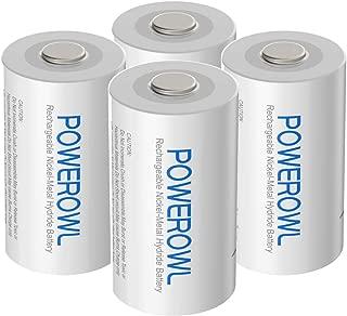 POWEROWL Pilas Recargables C 5000mAh Precarga Ni-MH 1.2V Baja autodescarga C Baterías 1200 ciclos (4 Unidades)