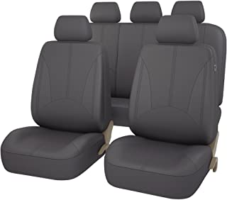 CAR PASS - 11PCS Elegant Luxurous PU Leather Automotive Universal Seat Covers Set Package-Universal fit for Vehicles,Cars,SUV With 5mm Composite Sponge Inside,Airbag Compatible (Dark Gray)