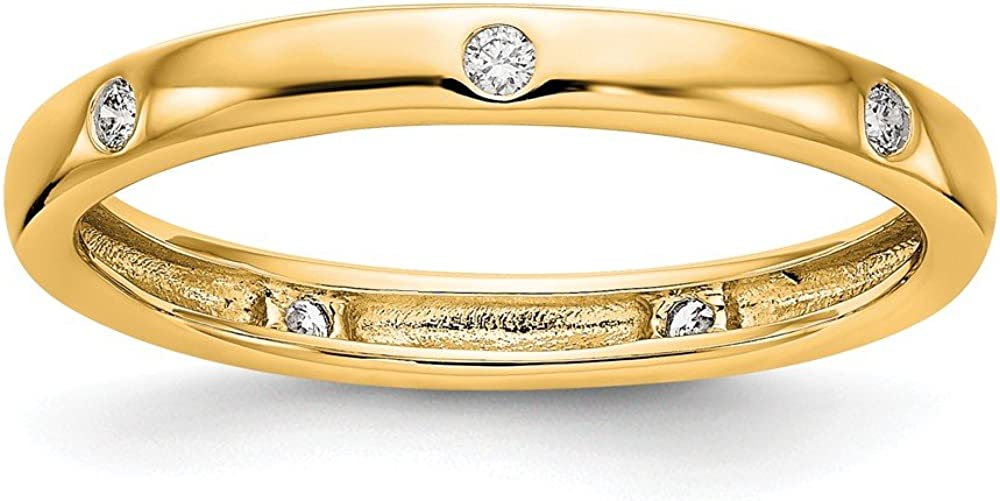 Solid 14k Yellow Gold 1/10CT Bezel Set Diamond Anniversary Wedding Band Eternity Ring Size 8.5
