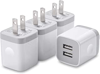 USINFLY USB Wall Charger, 4-Pack 2.1A/5V USB Plug Dual Port Charger Block Power Adapter Charging Cube Compatible with Phone 8/7/6S/6S Plus, X Xs Max XR, Samsung, Android, and More(White)