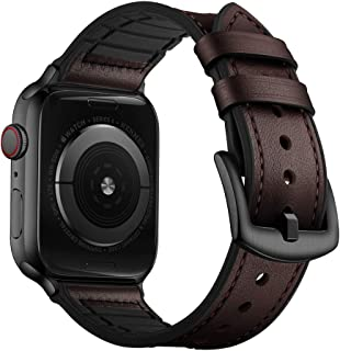 OUHENG Compatible with Apple Watch Band 42mm 44mm, Sweatproof Genuine Leather and Rubber Hybrid Band Strap Compatible with...