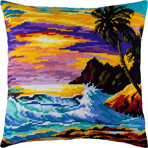 Tropical Sunset. Needlepoint Kit. Throw Pillow 16×16 Inches. Printed Tapestry Canvas, European Quality