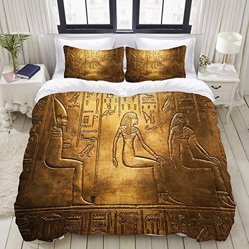 Popsastaresa Bettwäsche-Set,Hieroglyphen auf der Ausstellung in Bratislava,1 Bettbezug 200x200 + 2 Kopfkissenbezug