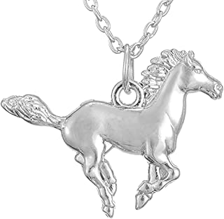 Silver Tone Horse Pendant Necklace Best Gifts for Equestrian Cowgirl and Horse Lovers