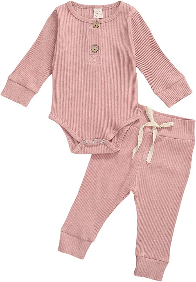 MiliMaDa Toddler Baby Girls Boys Ribbed Clothes Knitted Fall Winter Outfits Solid Romper Pants Set 2PCS Pajamas