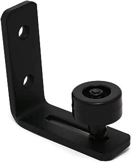 Small Black Barn Door Bottom Floor Guide Adjustable Roller Hardware - Flush to Floor
