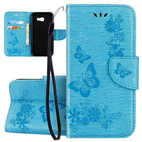 ISAKEN Compatibile con Samsung Galaxy A5 2017 Custodia, Libro Sbalzato Embossed Wallet Cover in Pelle PU Protettiva Flip Portafoglio Caso con Supporto di Stand/Carte Slot/Chiusura - Farfalla: Blu
