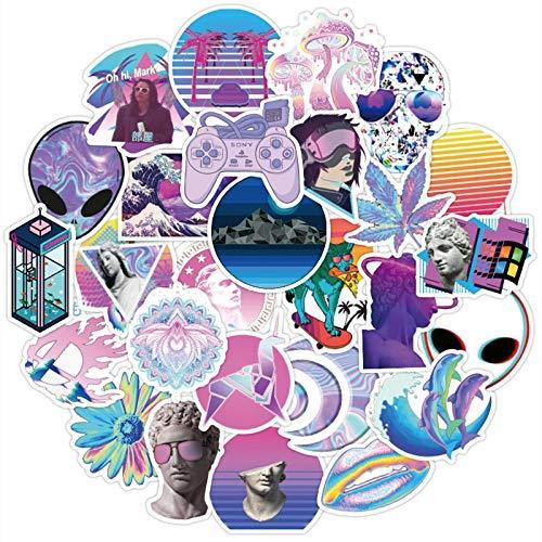 Vaporwave Art Style Stickers For Laptop Computer Water Bottle Scrapbook Album Aesthetic Trendy Stickers For Teens Girls 50Pcs