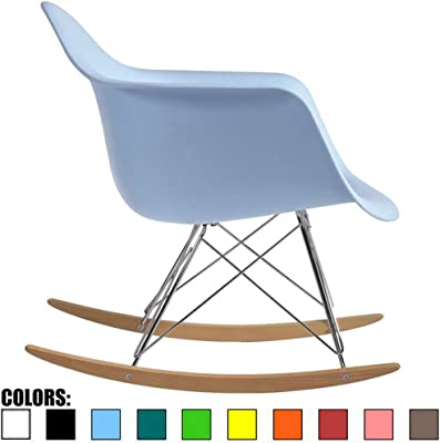 2xhome Blue Mid Century Modern Vintage Molded Shell Designer Plastic Rocking Chair Chairs Armchair Arm Chair