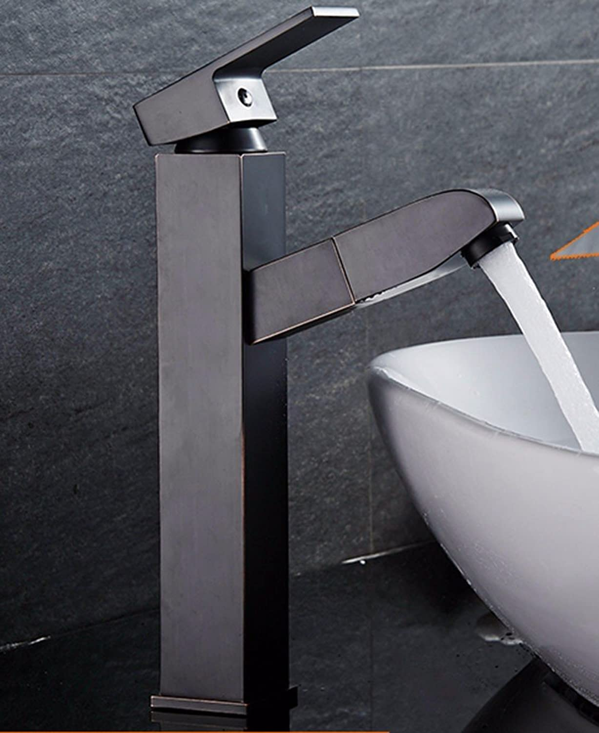 LHbox Basin Mixer Tap Bathroom Sink Faucet Copper, hot and cold, the basin, pull out the high, bathroom faucets, 7