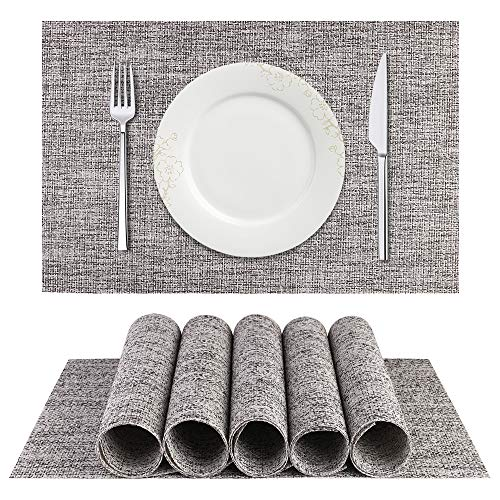 BETEAM Placemats, Heat-Resistant Placemats Stain Resistant Anti-Skid Washable PVC Table Mats Woven Vinyl Placemats, Set of 6(Smoky Grey)