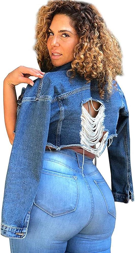 OdilMacy Women's plus size hole washed sexy long Sleeve short denim jacket