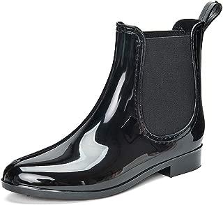 DKSUKO Rain Boots for Women Waterproof Elastic Slip On Ankle Chelsea Booties