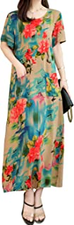 Women's Short Sleeve Loose Floral Print Summer Casual Long Dresses with Pockets