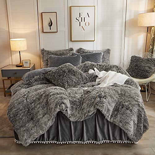 LIFEREVO Luxury Plush Shaggy Duvet Cover Set (1 Faux Fur Duvet Cover + 2 Pompoms Fringe Pillow Shams) Solid, Zipper Closure (King, Ombre Dark Gray)