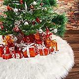 Deggodech 90cm Bianco Peluche Gonna Albero di Natale Grande Bianca Finta Pelliccia Gonne Albero Natale Copertura Albero di Natale Decorazioni Natalizie Christmas Tree Skirt - 35pollici