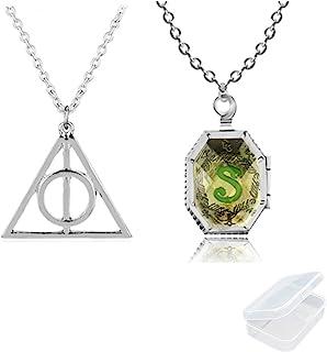 PPX 2 Pezzi Harry Potter Collana Medaglione Horcrux e Gioielli Simbolo Della Collana del Pendente Simbolo Della Morte con ...