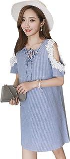 4713af408 BOZEVON Vestido Lactancia de Mujer Embarazo - Moda Elegante Encaje Premamá  Blusa Maternidad Verano Camiseta Vestidos