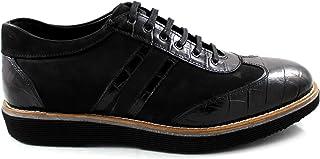 CANNERI Sneakers Uomo - Nero - 9364 - Sneakers Basse - Scarpe Stringate - Scarpe Casual in Pelle con Design e Stile