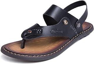 Sumuzhe Cool and comfortable Men's Sandals Casual Dual Purpose Clip Beach Sandals Slipper Cowhide Skid Large Size Slipper Summer must (Color : Black, Size : 47 EU)