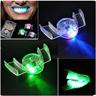 weiyun Vampire Teeth Makeup Cosplay Props Tricks Toy ,Flashing LED Light up Mouth Braces Piece ,Glow Teeth for Halloween Party Rave ,Cheap Stuff Set of 10