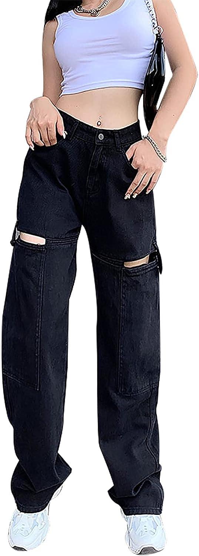 TWFRHC Women's High Waist Wide Leg Pants Sexy Hollow Loose Straight Leg Y2K Baggy Denim Jenas