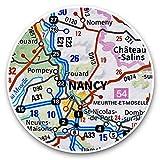 Impresionantes pegatinas de vinilo (juego de 2) 7,5 cm – Nancy City Francia, mapa de viaje francés, calcomanías divertidas para portátiles, tabletas, equipaje, reserva de chatarras, neveras, regalo genial #45822