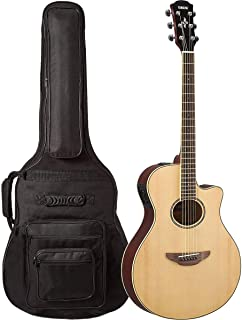 Yamaha APX600 NA Thin Body Acoustic-Electric Guitar Natural with FREE Padded, 6-Pocket Guitar GigBag