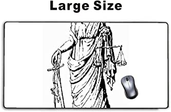 Mousepp - Large Gaming Mouse Pad,Extended Mousepad with Non-Slip Rubber Base for Laptop Computer Desktop Keyboard,Stitched Edges Mat - old world lady justice retro or vintage cherry
