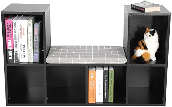 ROBTLE Wooden Bookcase Multi Functional 6 Cube Storage Closet Home Office DIY Organizer Shelves Cabinets With Reading Nook Cushion 19 6 X 11 85inch Black
