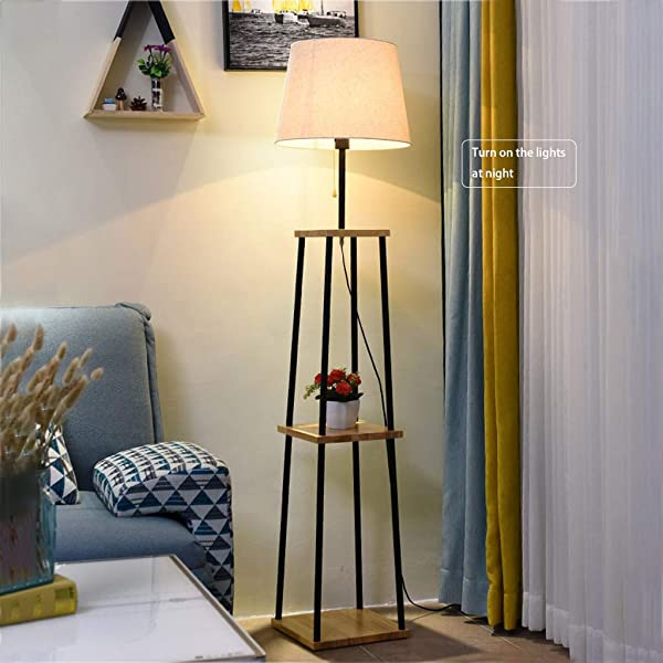 Nordic LED Shelf Floor Lamp Conventional Lamp For Office Living Rooms Bedrooms Sofa Coffee Table Vertical Table Lamp Rack Floor Lamp Khaki