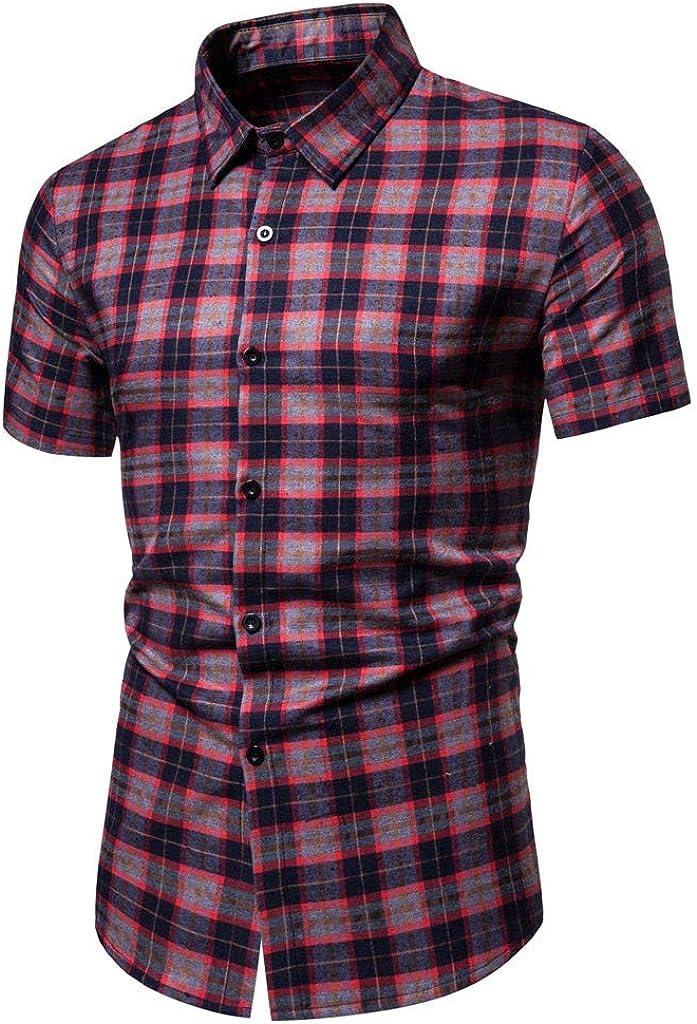 Holzkary Men's Button Down T-Shirts Regular-Fit Short Sleeve Plaid Stripe Casual Button Up Shirt