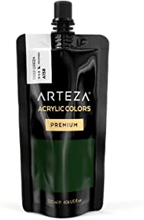 ARTEZA Acrylic Paint Deep Green Color (120 ml Pouch, Tube), Rich Pigment, Non Fading, Non Toxic, Single Color Paint for Artists, Hobby Painters & Kids