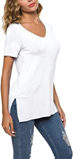 POPZONE Womens Comfy Casual Short Sleeve V Neck Tops Blouse Tunic Tshirt with Side Split