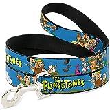 Buckle-Down Pet Leash - The Flintstones and Rubbles Group Pose/Logo Blue - 4 Feet Long - 1/2' Wide